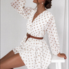 Elegant Polka Dot See Through Chiffon Vintage Dresses Women Spring Summer Long Sleeve Beige Beach Party Sundress