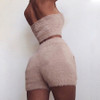 Two Piece Shorts Set Women Slash Neck Sexy Backless Strapless Crop Tops Solid High Waist Pocket Short Pants 2019