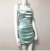 Sexy Summer Dress 2019 Women Spaghetti Straps Bodycon Dress Slim Stretch Multi Wear Ruched Club Satin Dress Vestidos New