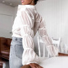 Boho linen chiffon white blouse tops Office lady long sleeve women shirts Casual cropped blusas mujer chemisier femme