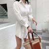 2019 New Spring Summer Lapel Hubble-bubble Sleeve Shirt High Waist Shorts Two Piece Suit Women Fashion Tide