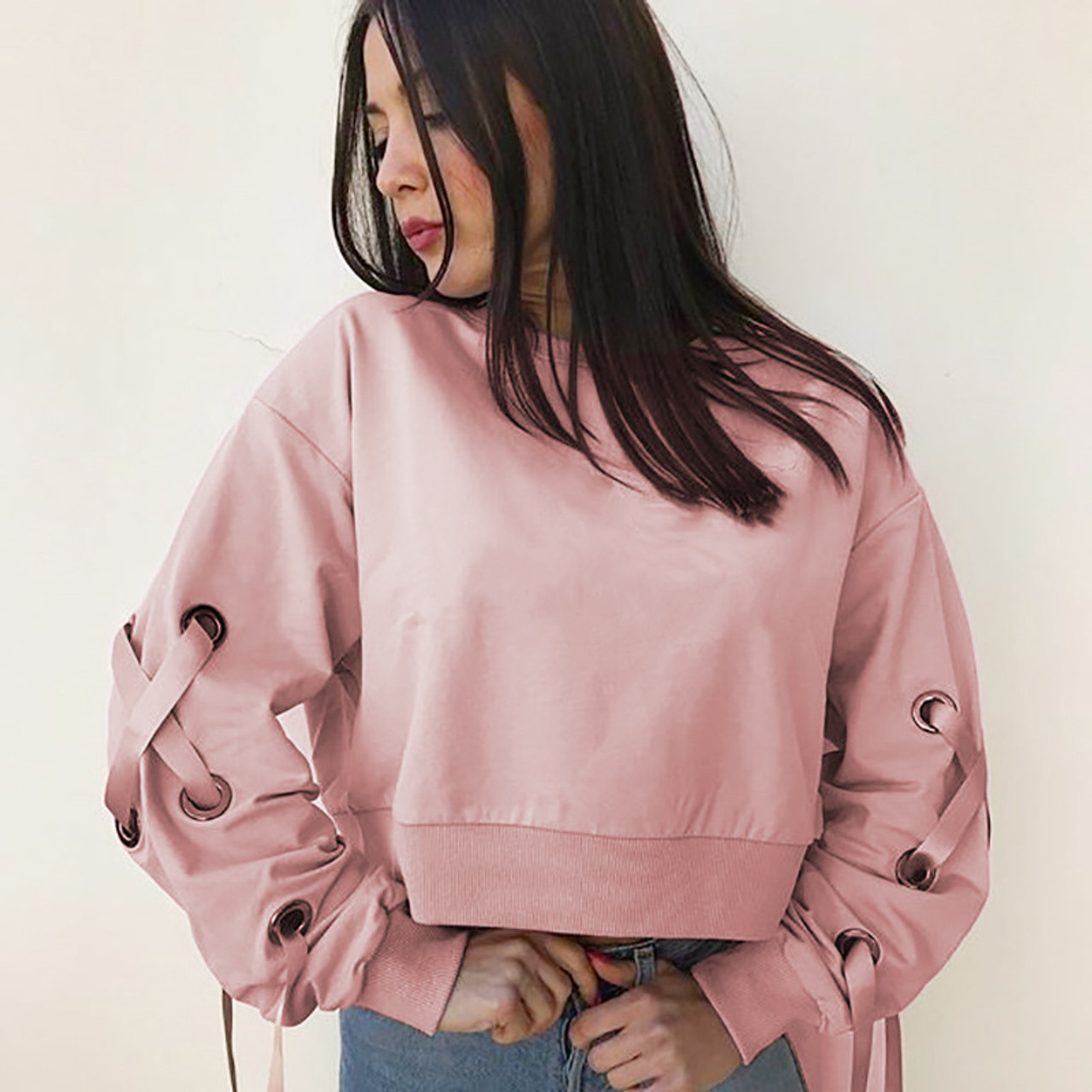 2a8e4bd76b2 pink hoodie lace up cropped sweatshirts - PALACEFCHIC