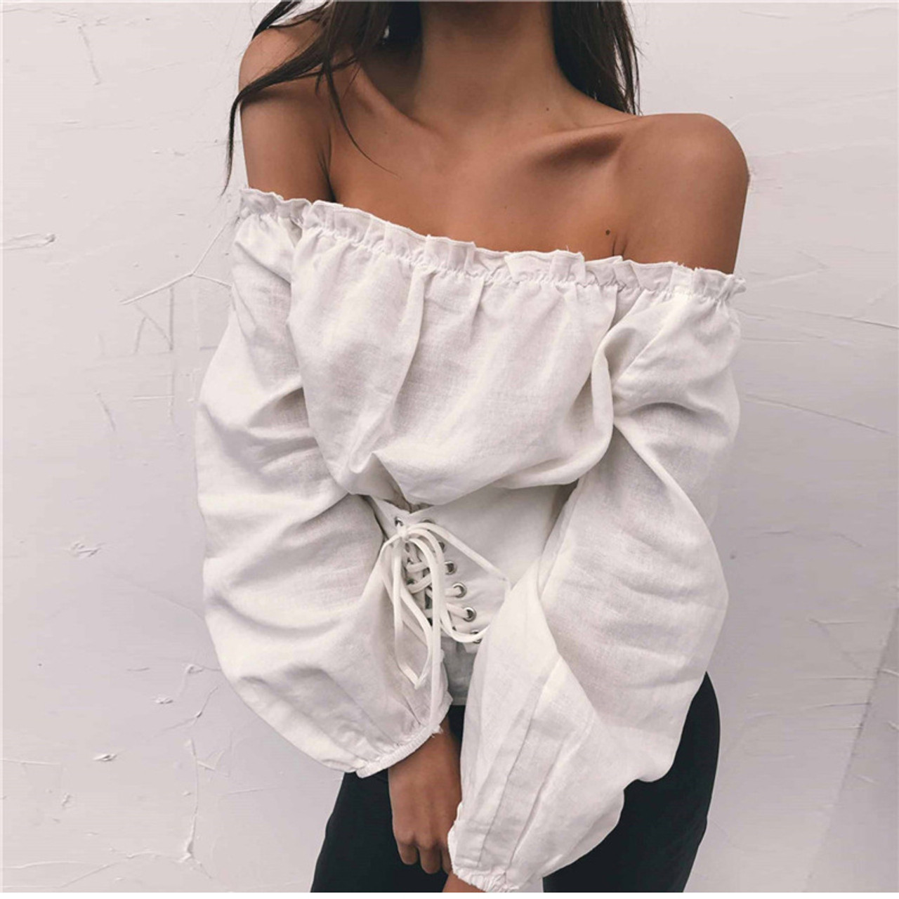 688216d02 Off Shoulder Sexy Women Long Sleeve Blouse Shirt Lace Up Female Shirts  Ruffles Autumn Blouses Casual Top
