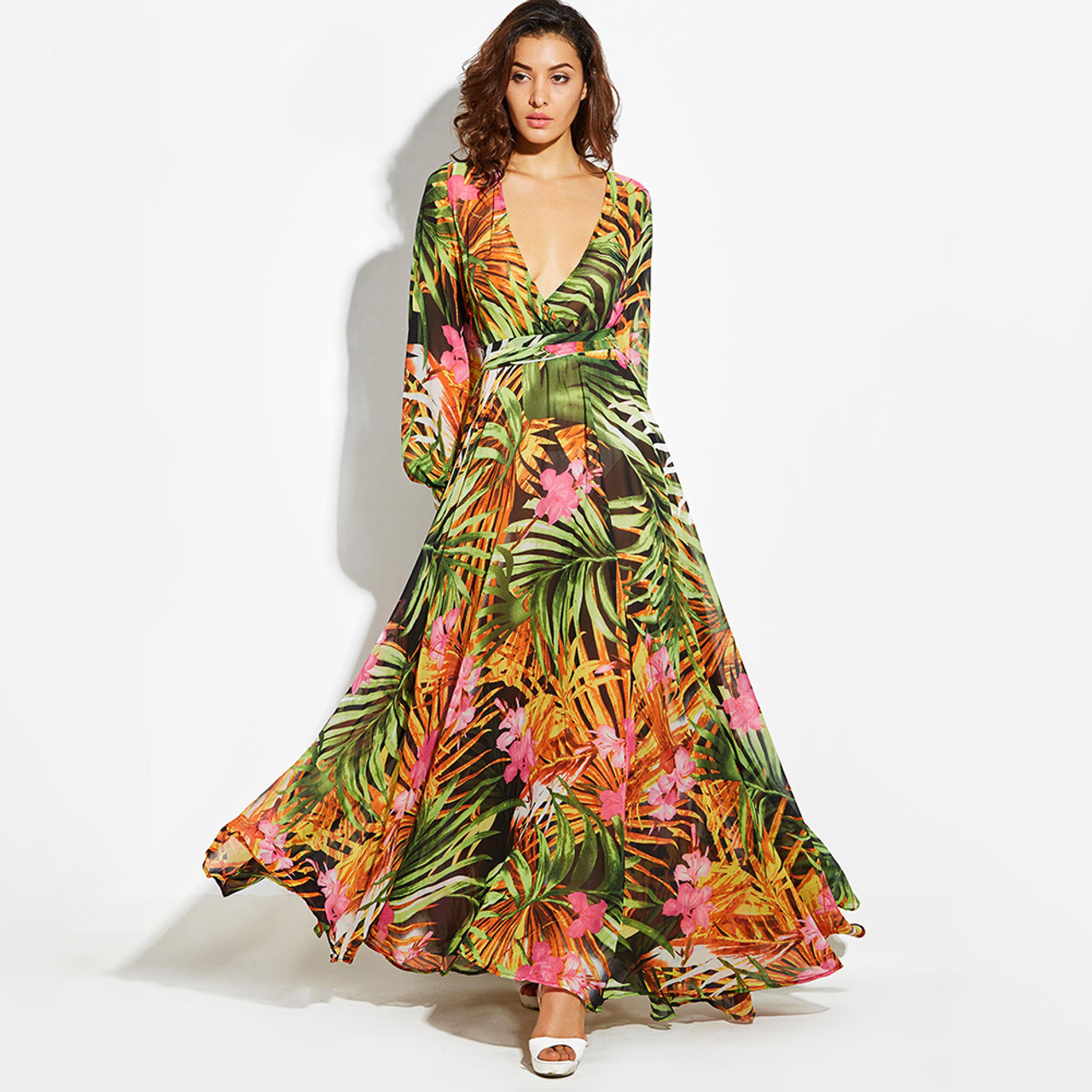 Long Sleeve Dress Green Tropical Print Vintage Maxi Dresses Boho Casual V  Neck Belt Lace Up Tunic Draped Plus Size Dress {Tropical}