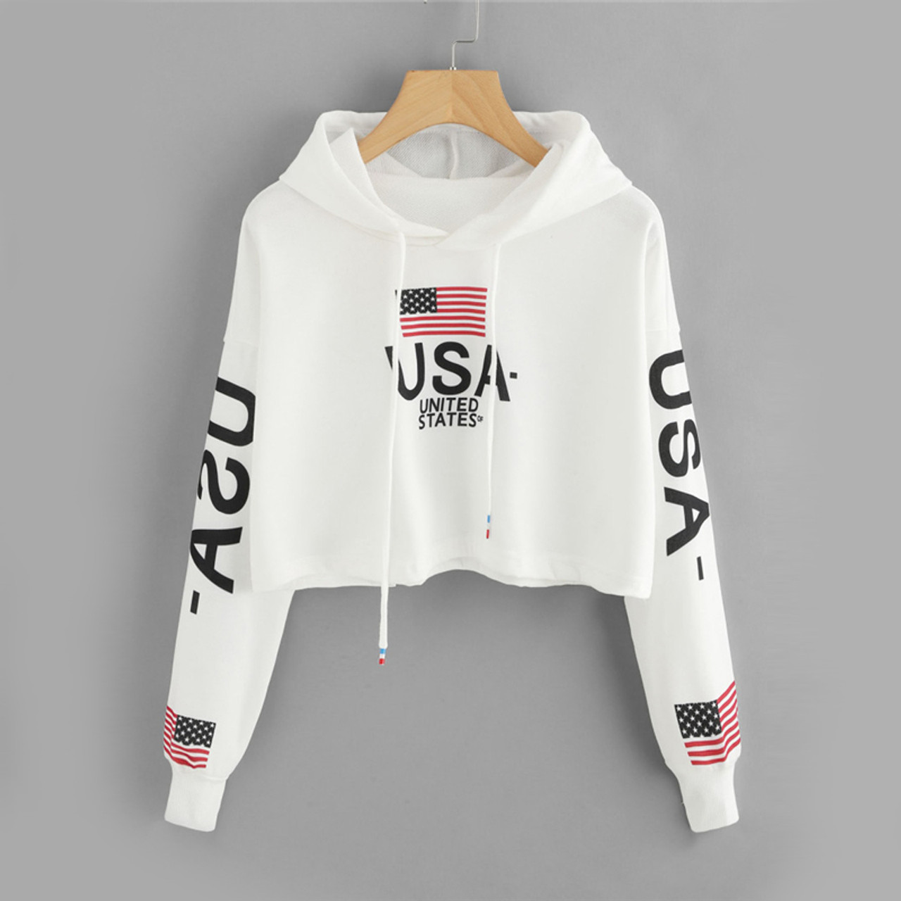 ac287ac07b Drop Shoulder American Flag Print Letter Multicolor Hoodie Spring Autumn  Ladies Hooded Long Sleeve Drawstring Crop Hood