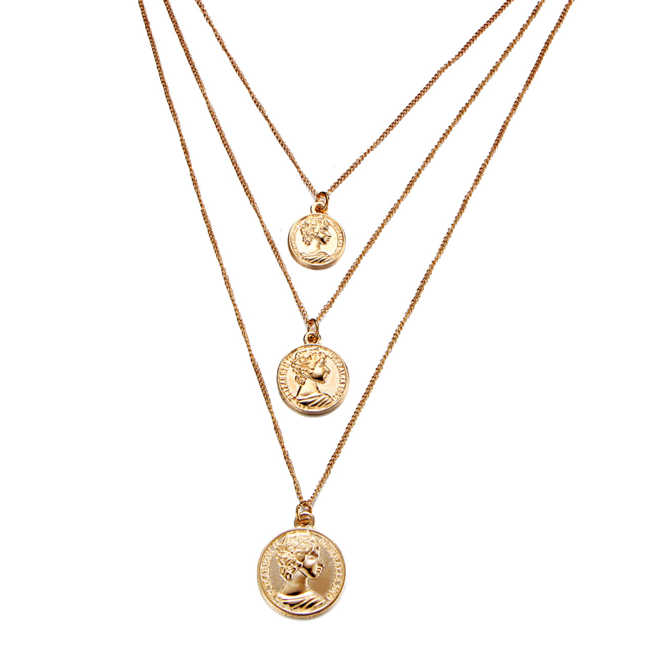 Delicate Triple Chain Necklace For Women Bohemian Vintage Gold Silver Color Coins Pendant Necklace Fashion Jewelry