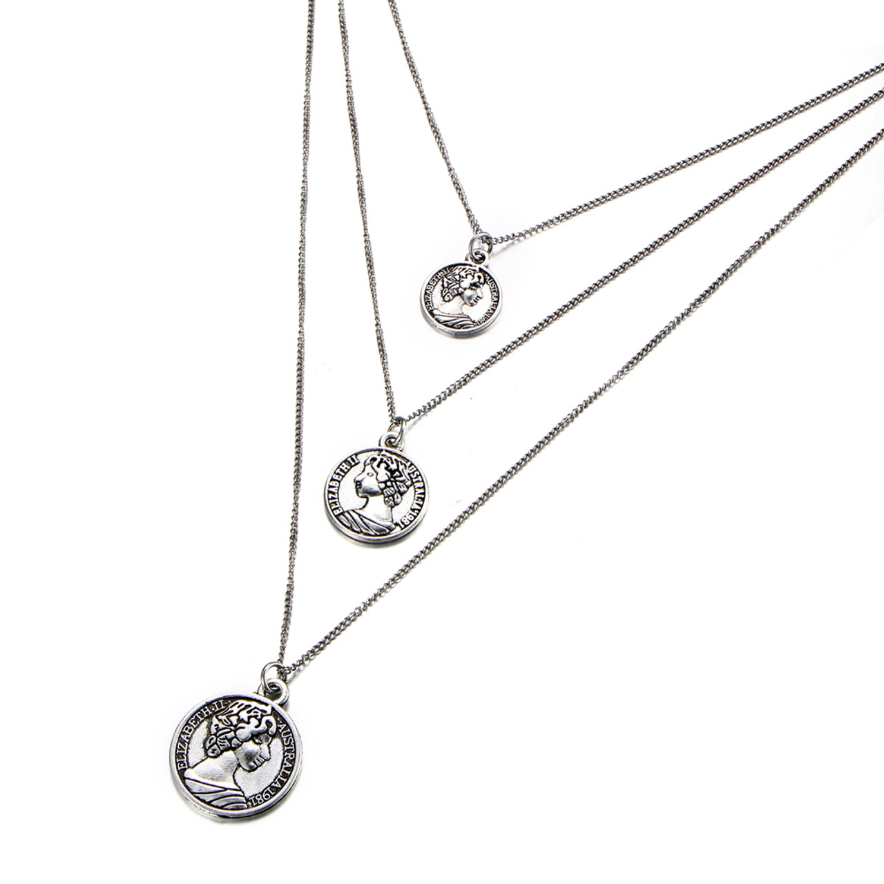 f47be85e16758 Delicate Triple Chain Necklace for Women Bohemian Vintage Gold Silver Color  Coins Pendant Necklace Fashion Jewelry {Silver}