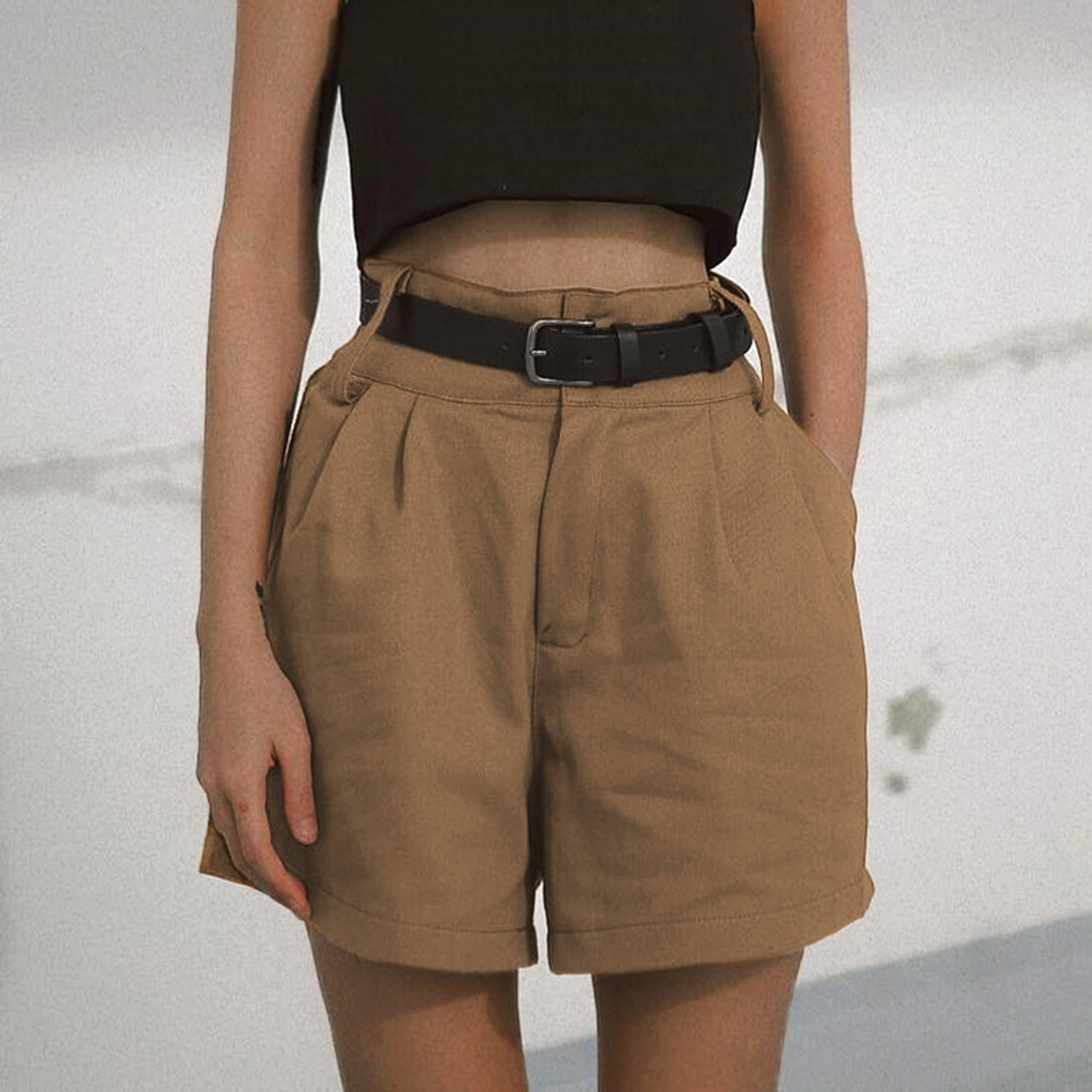 d2ad0634b44 Normcore Brown Bermuda Pants Women Khaki High Rise Shorts Loose Casual Summer  Style Boho Office Lady ...