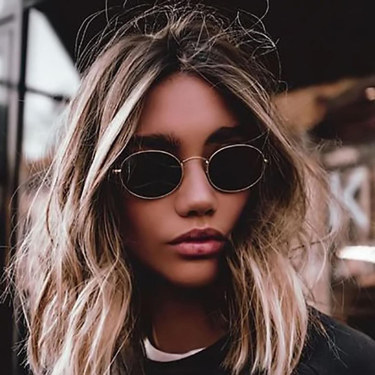 39aefb5f5 Fashion Women Sunglasses 2018 Famous Oval Sun Glasses Luxury Brand Metal Round  Frames Black Small Cheap Eyewear Oculos