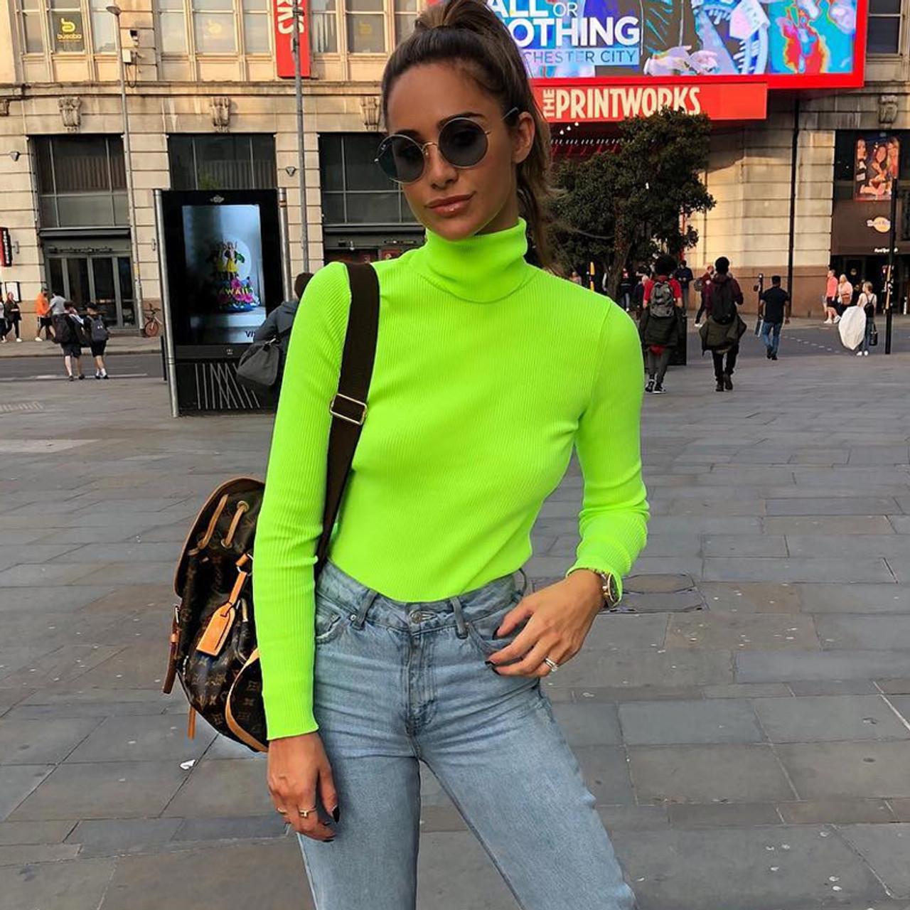 Long Sleeve Neon High Neck Bodycon Green Solid Tops 2018 Autumn