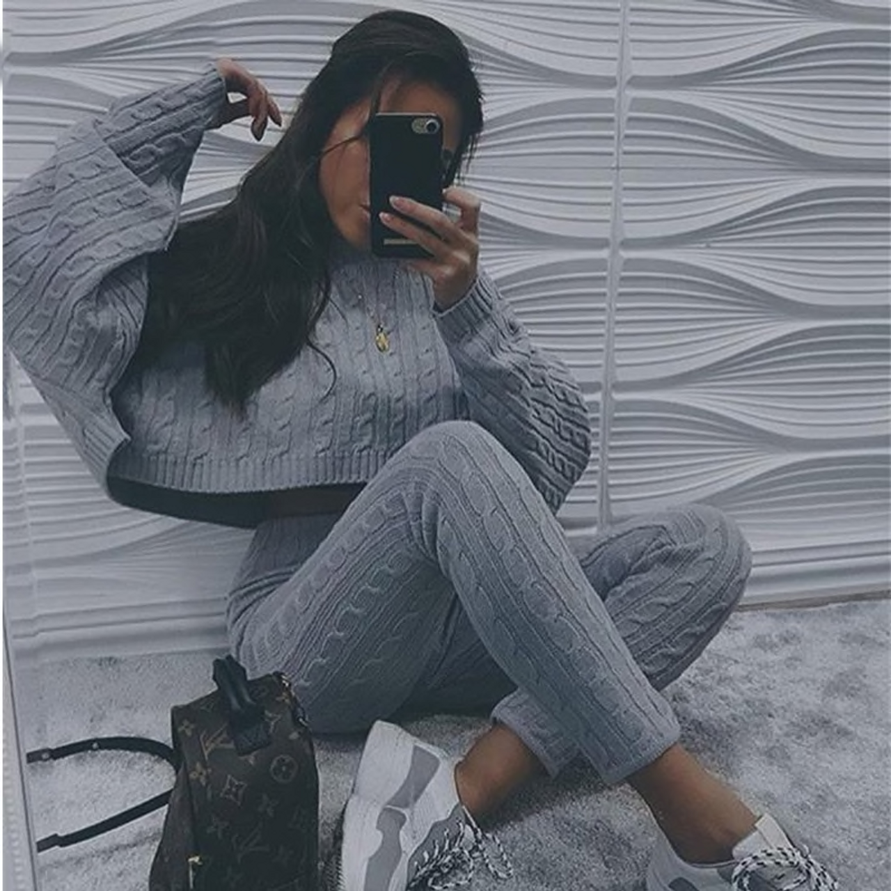 dea9d4334e Women Two Piece Set Sweater And Trousers Tracksuits Autumn And Winter Knit  2 Pieces Knitted Suit Clothes Tracksuit
