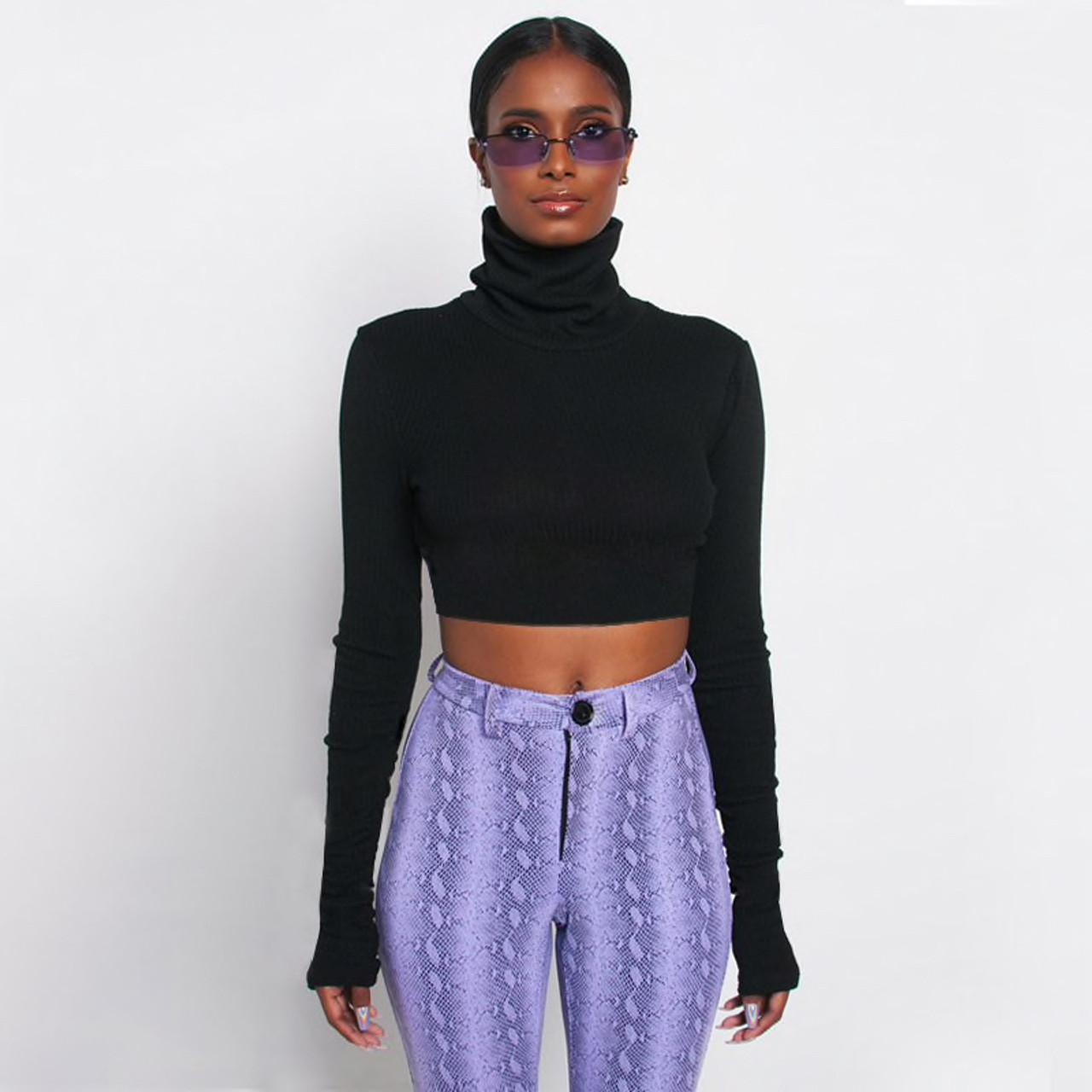 317ec878 Women Turtleneck Ribbed Sweatshirt Long Sleeve Fluorescent Color Pullovers  Crop Slim Mujer Warm Knit Jumpers Short Tops {Black}