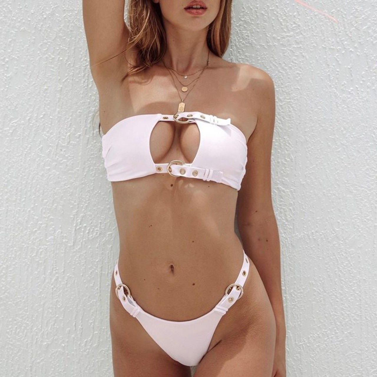 bf2ec46c05f6 Buckle bandeau bikinis 2019 mujer Push up two-piece suit Sexy swimsuit  female High cut pink swimwear women ...