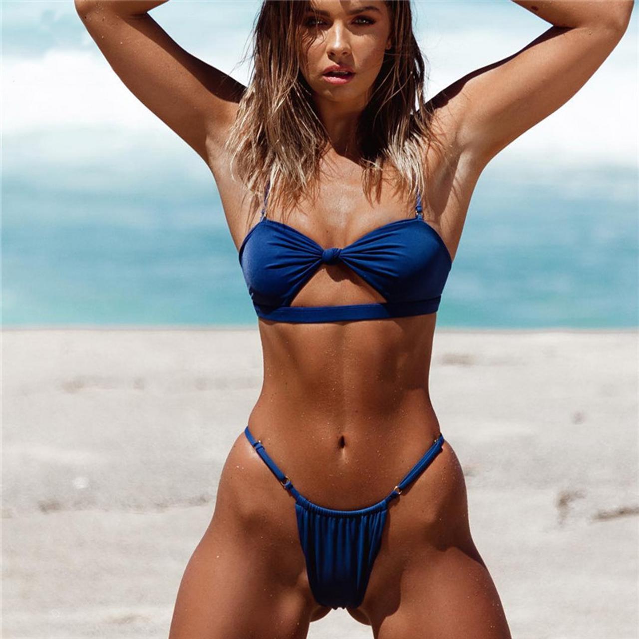d1d2b2ea5b Solid Bikini Mujer Sexy Swimwear Swimsuit Bathing Suit Women Adjust Bikini  Push UP Beach Wear Biquini Monokini