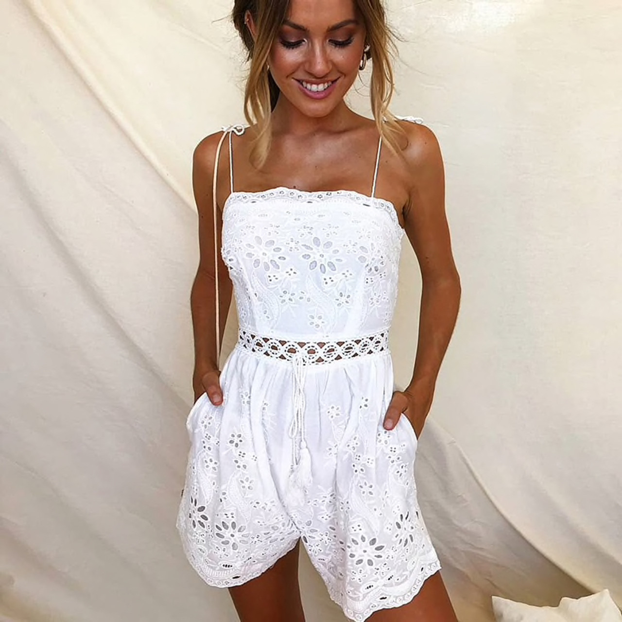 5d5647f269a Summer Playsuit Women Boho Hollow Out White Lace Romper Spaghetti Strap  Tassel Rompers Womens Jumpsuit Combinaison ...