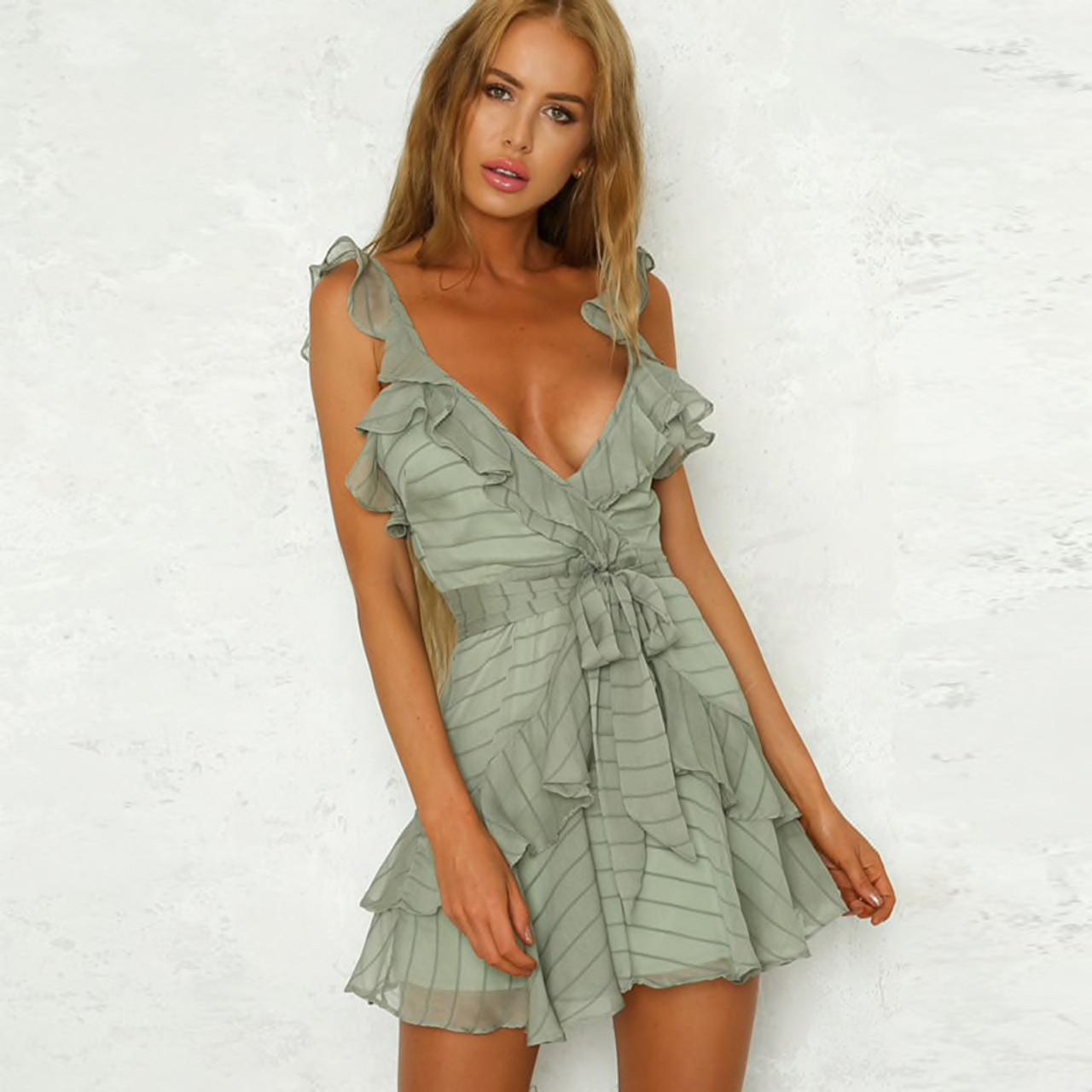 a81f08c5fc96d Summer Dress 2019 Frill Ruffle Beach Dress Women Sleeveless Deep V Neck  Sexy Backless Tie Mini Casual Dress Jurken Sundress Robe {Khaki Green}
