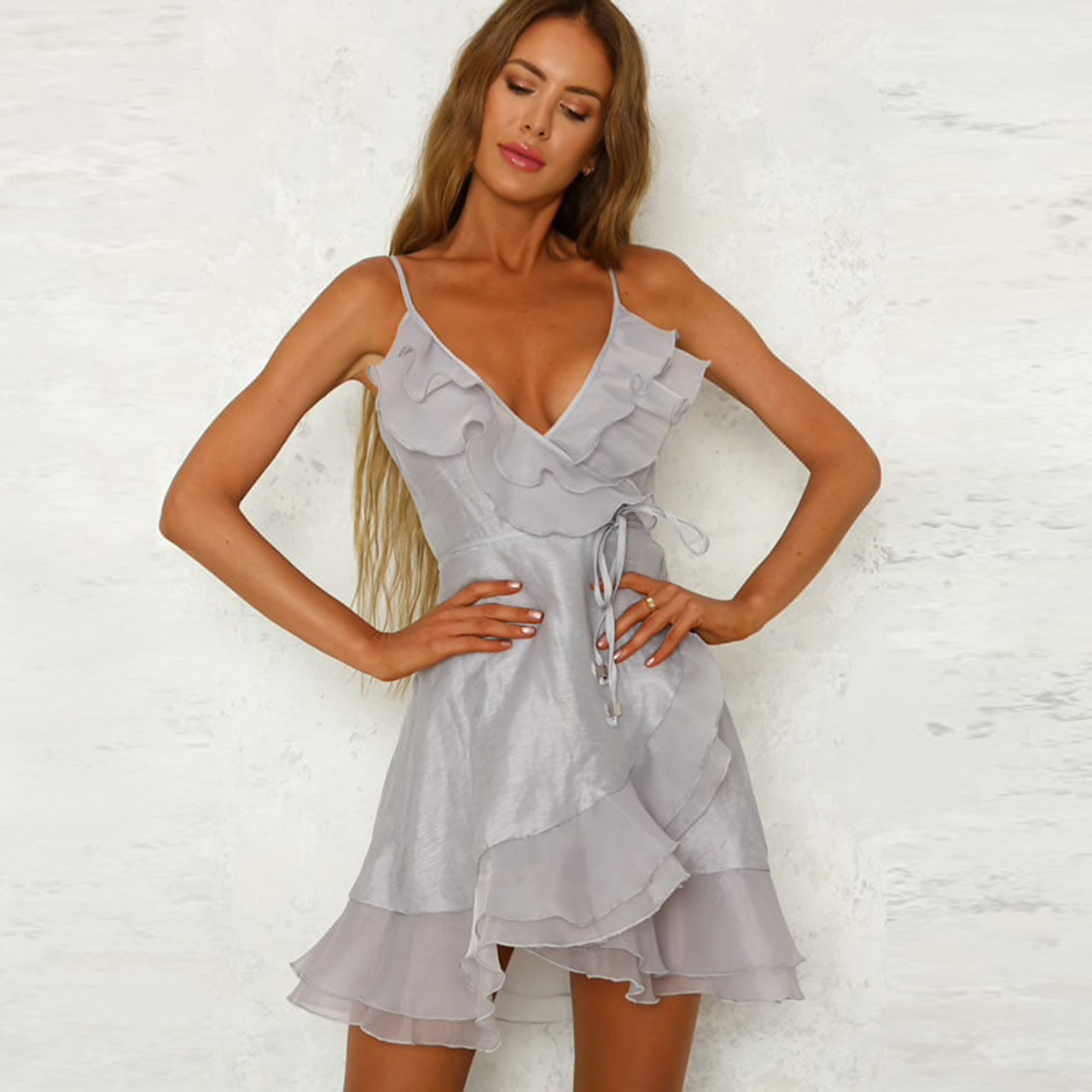 2235d70717 Woman Beach Summer Dress 2018 Elegant Ruffle Organza Dress Women V Neck  Sleeveless Spaghetti Strap Casual Mini Wrap ...