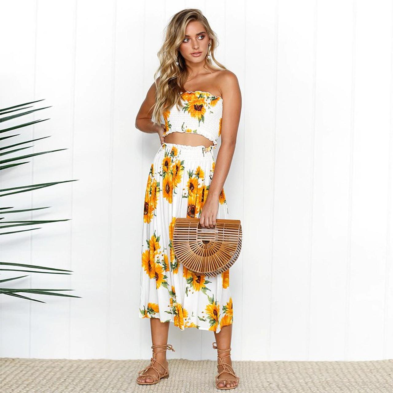 Summer Floral Print 2 Piece Set Dress Women Sexy Strapless Wrapped Crop Top High Waist Midi Dress 2019 Beachwear Robe Sunflower