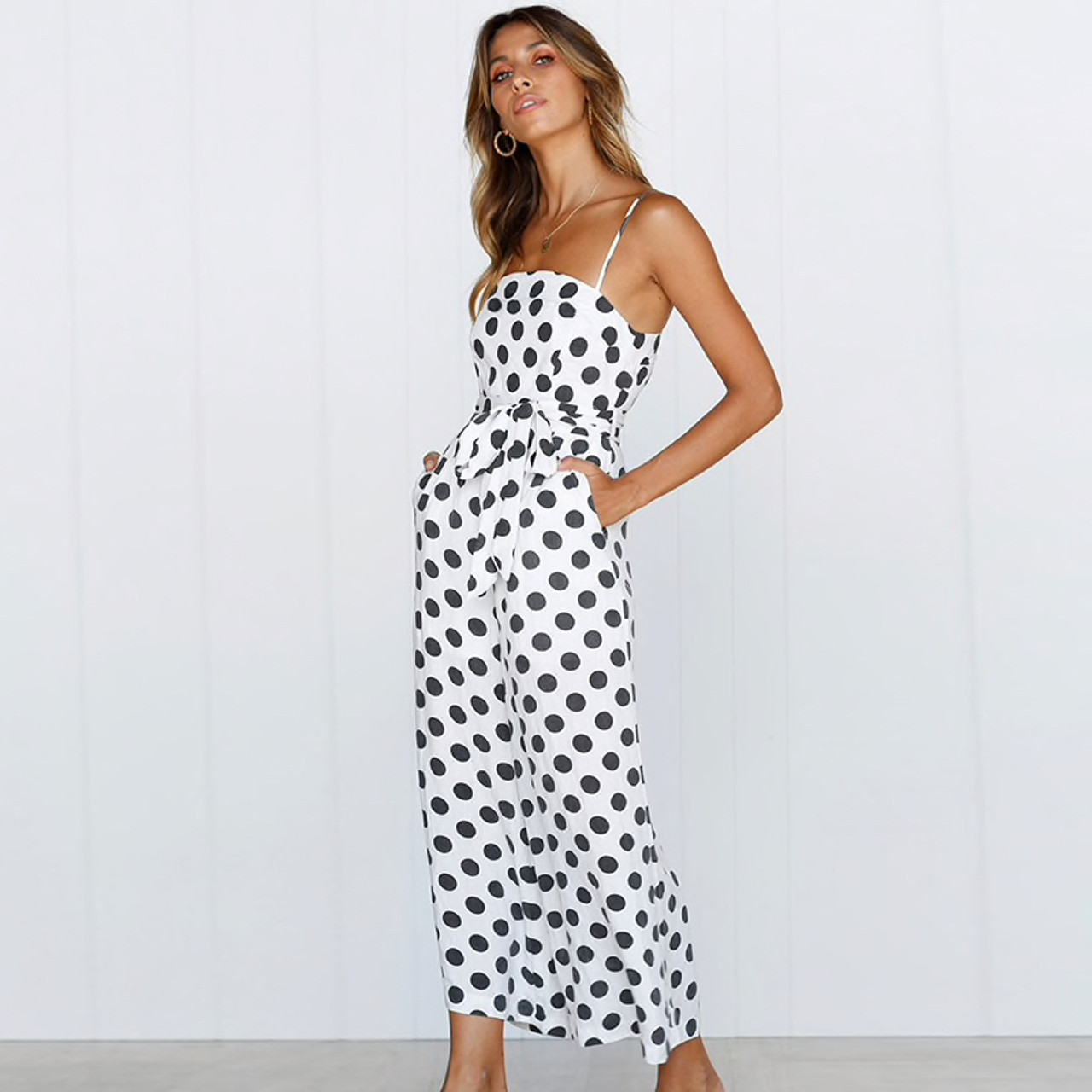 ccfaa656c6 Polka Dot Camisole Jumpsuit Women Rompers Summer Woven Strapless Belted  Wide Leg Pants Jumpsuit Casual Overalls Femme White