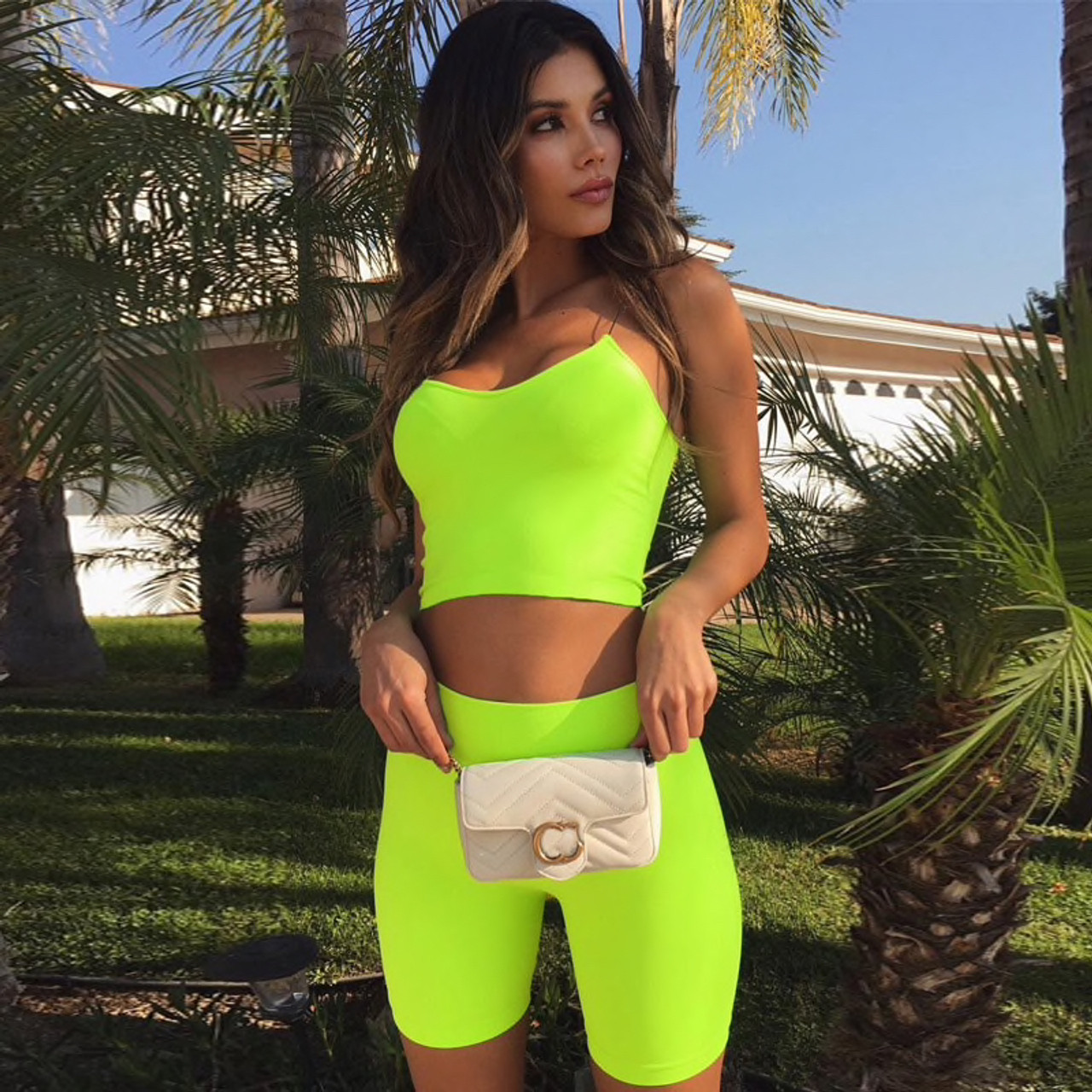de7e6aab8dc1c Neon Green Fashion Women's Sets Camis Crop Tops Tank Summer Sexy Outfits  Two Pieces Set Casual Biker Shorts