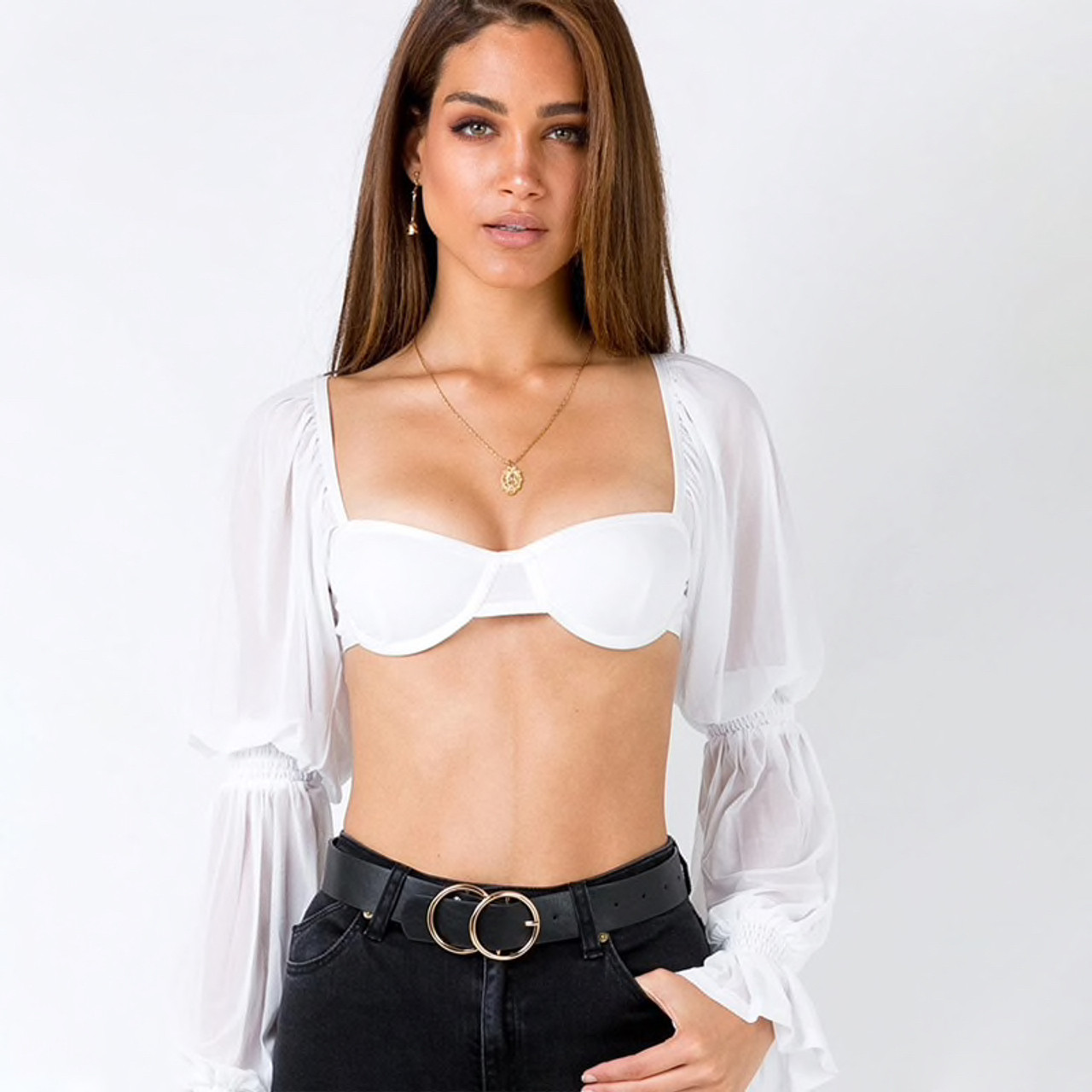 Womens White Cropped Tops Square Collar Lace Up Backless Mesh