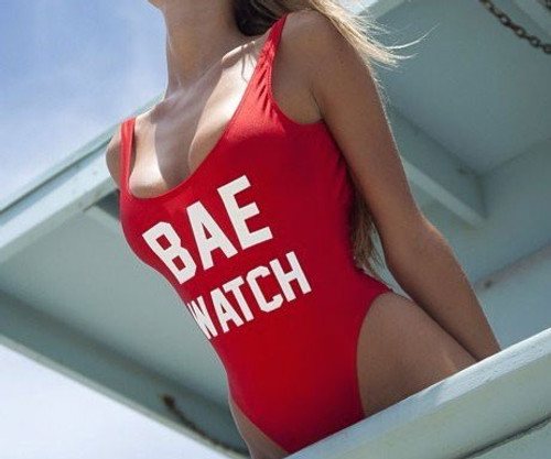 Bae Watch One Piece Swimsuit Women Red Monokini Rompers Womens Jumpsuit Costume Sexy One Piece Swimsuit