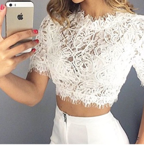 Hollow Out Crop Top Solid Pattern Lacey Top Sexy Lace Women Tops Turtleneck Teeshirts Hot Pink