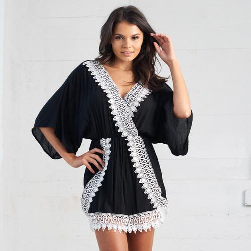 Black Sea Wrap Boho Dress