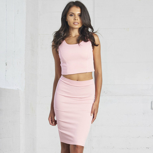 2 Piece Outfit Sets sleeveless Crop top And Skirt
