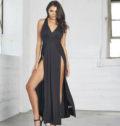 City Girl Black Dress With Slit