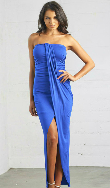 Hawaii Strapless Dress Royal Blue
