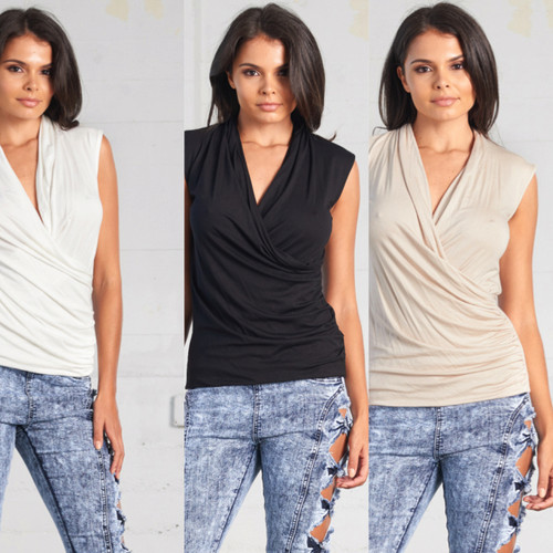 Sleeveless Wrap Effect TOP