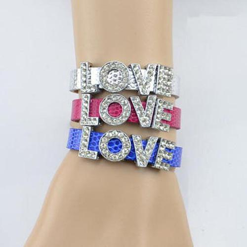Rhinestone Love Charm Letter Bracelet