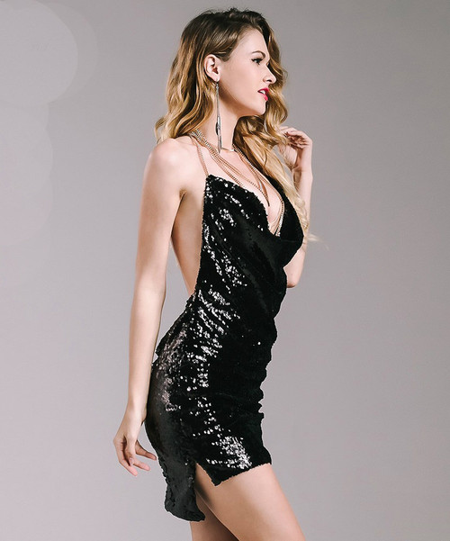 Show My Body Drape Neck Sequin Dress