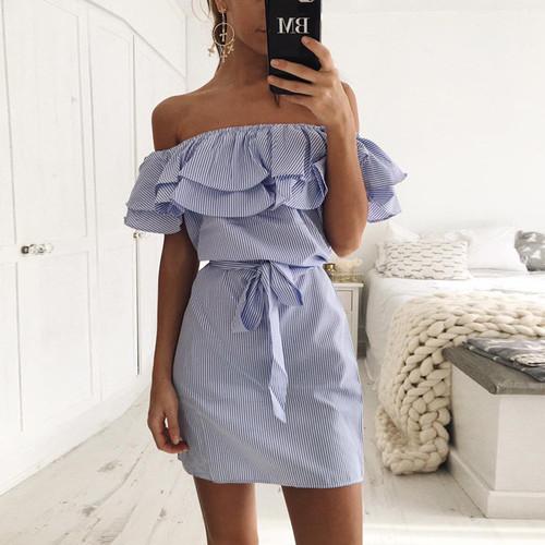 Stripes off Shoulder Dress Ruffles - palaceofchic