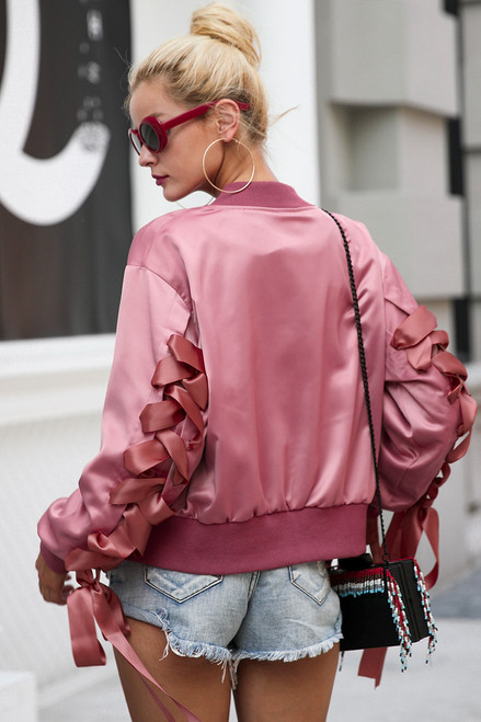 bomber jacket Satin lace up  - palaceofchic