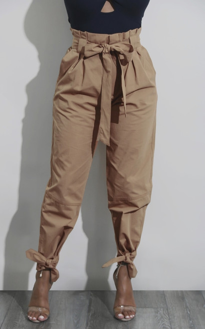 Casual High Waist Ankle Length Pants Women Elastic Tie Trousers With Pockets Running Sport Tights Trousers