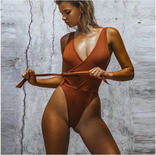 e658a4eec6394 Sexy One Piece Swimsuit Women Swimwear Bandage Monokini Padded Swim Suit  Solid Bathing Suit Summer Beach Wear
