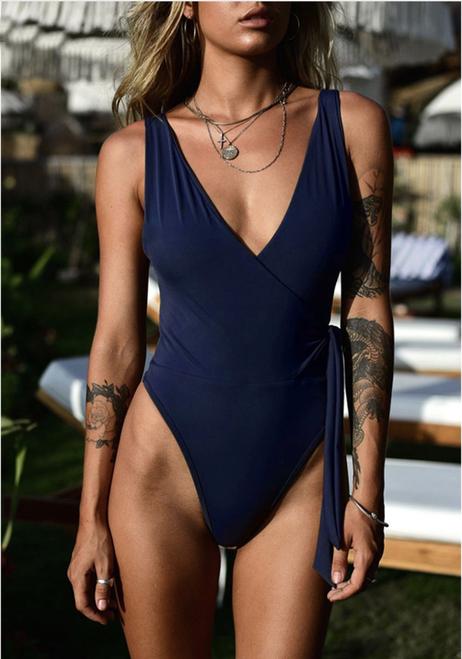 Sexy One Piece Swimsuit Women Swimwear Bandage Monokini Padded Swim Suit Solid Bathing Suit Summer Beach Wear