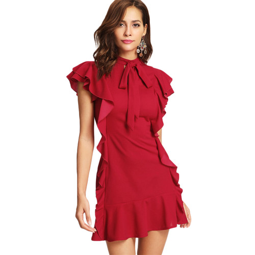 Women Party Dress Flounce Embellished Tied Neck Dress Red Tie Neck Cap Sleeve Ruffle Hem Zipper Back Sheath Dress