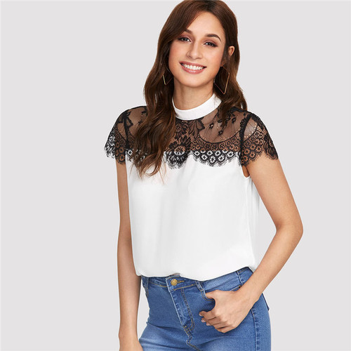 Lace Yoke Keyhole Back Top Women Patchwork Stand Collar Short Sleeve Button Casual Blouse 2018 Summer Elegant Blouse