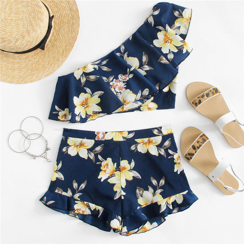Flower Print One Shoulder Crop Top And Shorts Set Women Sleeveless Ruffle Zipper 2 Pieces Sets 2018 Beach Boho Twopieces