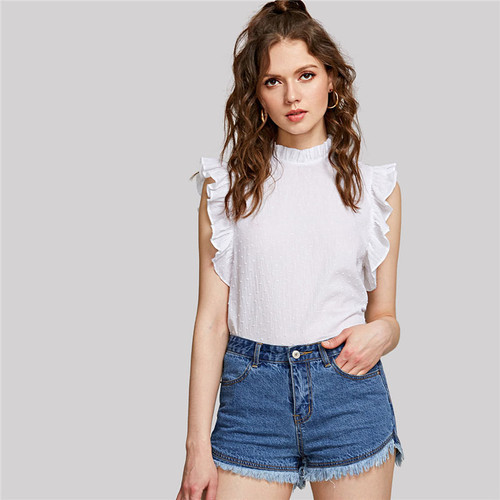 Casual Ruffle Trim Sleeveless Dot Jacquard Top White Stand Collar Women Plain Cotton Blouse 2018 Summer Preppy Blouse
