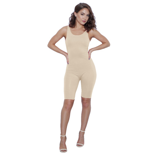 Stretch-Knit Cami Romper Sexy Sleeveless Bodysuit Women Summer Jumpsuit Shorts Romper Slim Bodycon Skinny Playsuit Ladies Strap Cami Bodysuits