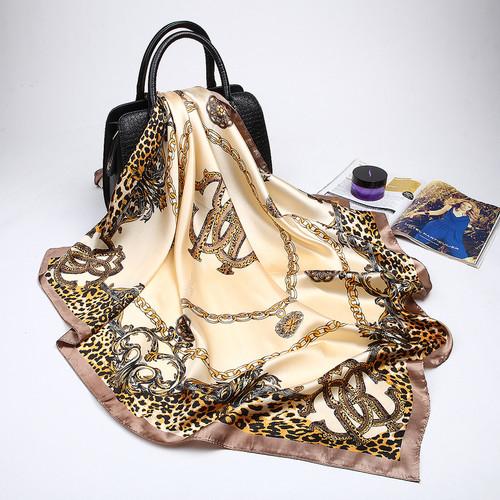 Fashion Women Scarf Luxury Brand Pink Leopard Hijab Silk Satin Shawl Scarfs Foulard Square Head Scarves Wraps 2018 NEW 90x90cm