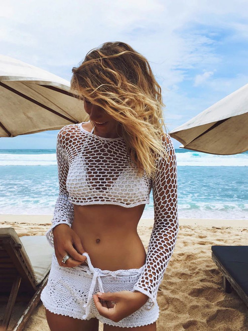 Sexy Women Summer Bathing Suit 2017 New Lace Crochet Bikini Cover Up Swimwear Tunics Swimwear robe de plage Black White Top