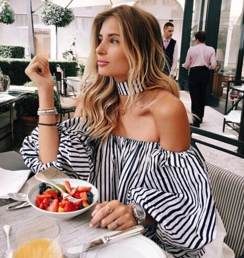 Summer Women Tops Ladies Frill Off Shoulder Lantern Sleeve Choker Striped Blouse Sexy Casual Party Loose Tops