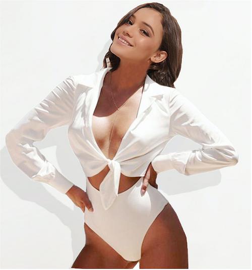 Sexy Bodysuit Suit Long Sleeve Jumpsuit Bow Tie Lurex Satin Silk Bodysuit Women Romper Playsuit White Body Silky Blouse