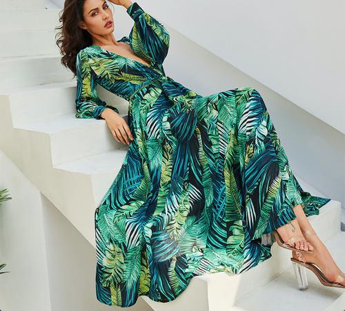 Long Sleeve Dress Green Tropical Print Vintage Maxi Dresses Boho Casual V  Neck Belt Lace Up Tunic Draped Plus Size Dress d3719ae1c284