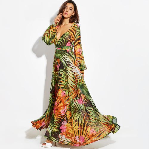 98038b96f9513 Long Sleeve Dress Green Tropical Print Vintage Maxi Dresses Boho Casual V  Neck Belt Lace Up Tunic Draped Plus Size Dress {Tropical}